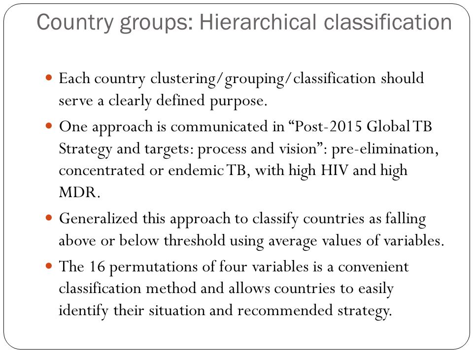 Country groups: Hierarchical classification Each country clustering/grouping/classification should serve a clearly defined purpose. One approach is co