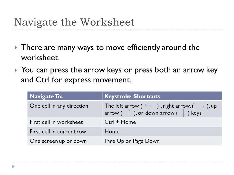 Navigate the Worksheet  There are many ways to move efficiently around the worksheet.