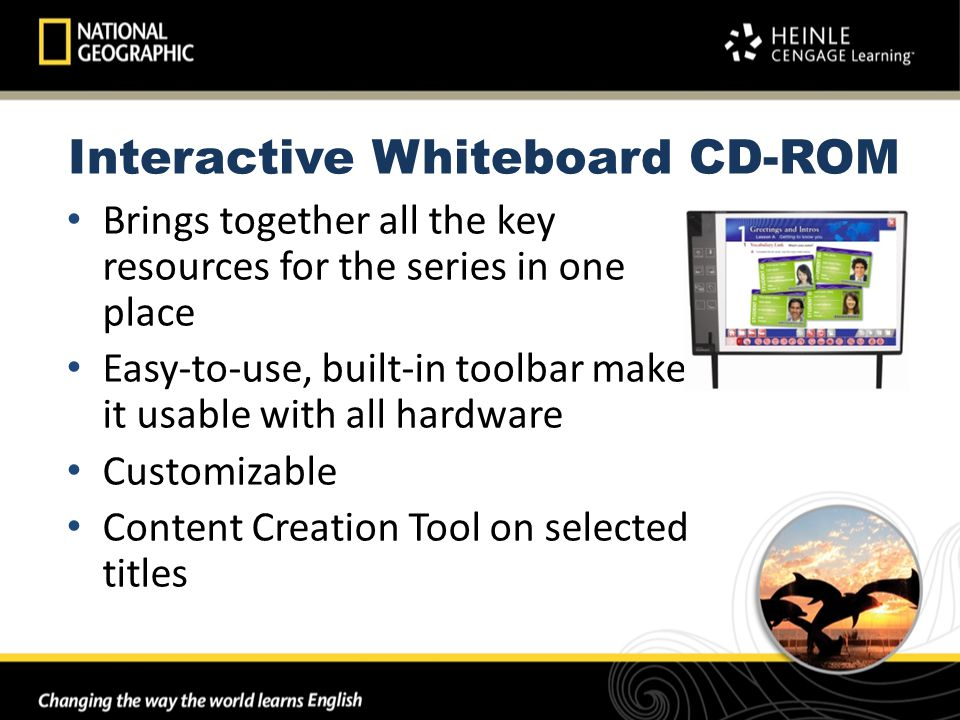 Brings together all the key resources for the series in one place Easy-to-use, built-in toolbar makes it usable with all hardware Customizable Content Creation Tool on selected titles Interactive Whiteboard CD-ROM