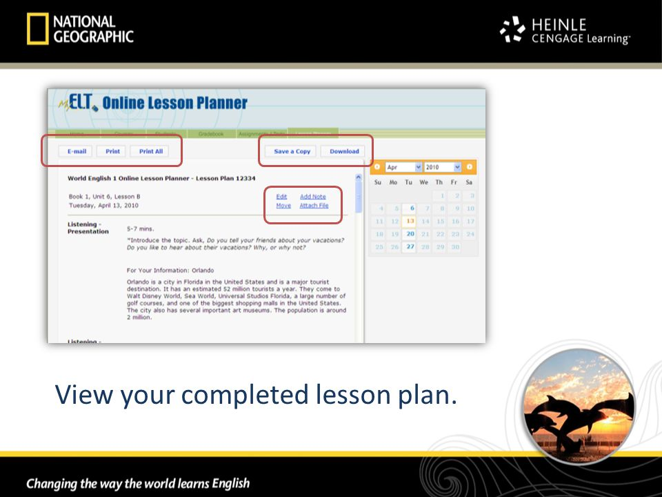 View your completed lesson plan.