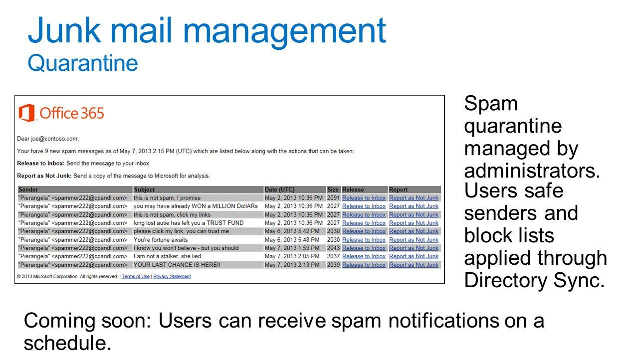 Spam quarantine managed by administrators.