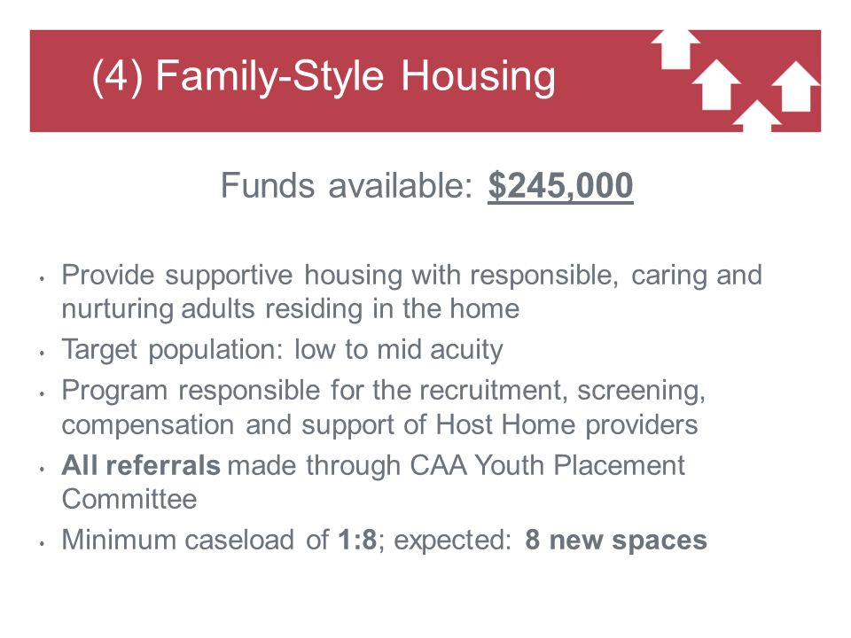 (4) Family-Style Housing Funds available: $245,000 Provide supportive housing with responsible, caring and nurturing adults residing in the home Target population: low to mid acuity Program responsible for the recruitment, screening, compensation and support of Host Home providers All referrals made through CAA Youth Placement Committee Minimum caseload of 1:8; expected: 8 new spaces