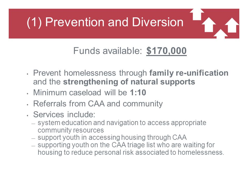 (1) Prevention and Diversion Funds available: $170,000 Prevent homelessness through family re-unification and the strengthening of natural supports Minimum caseload will be 1:10 Referrals from CAA and community Services include: ― system education and navigation to access appropriate community resources ― support youth in accessing housing through CAA ― supporting youth on the CAA triage list who are waiting for housing to reduce personal risk associated to homelessness.