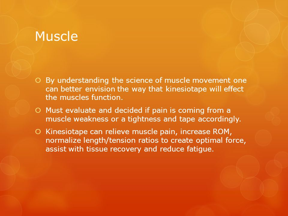 Muscle  By understanding the science of muscle movement one can better envision the way that kinesiotape will effect the muscles function.