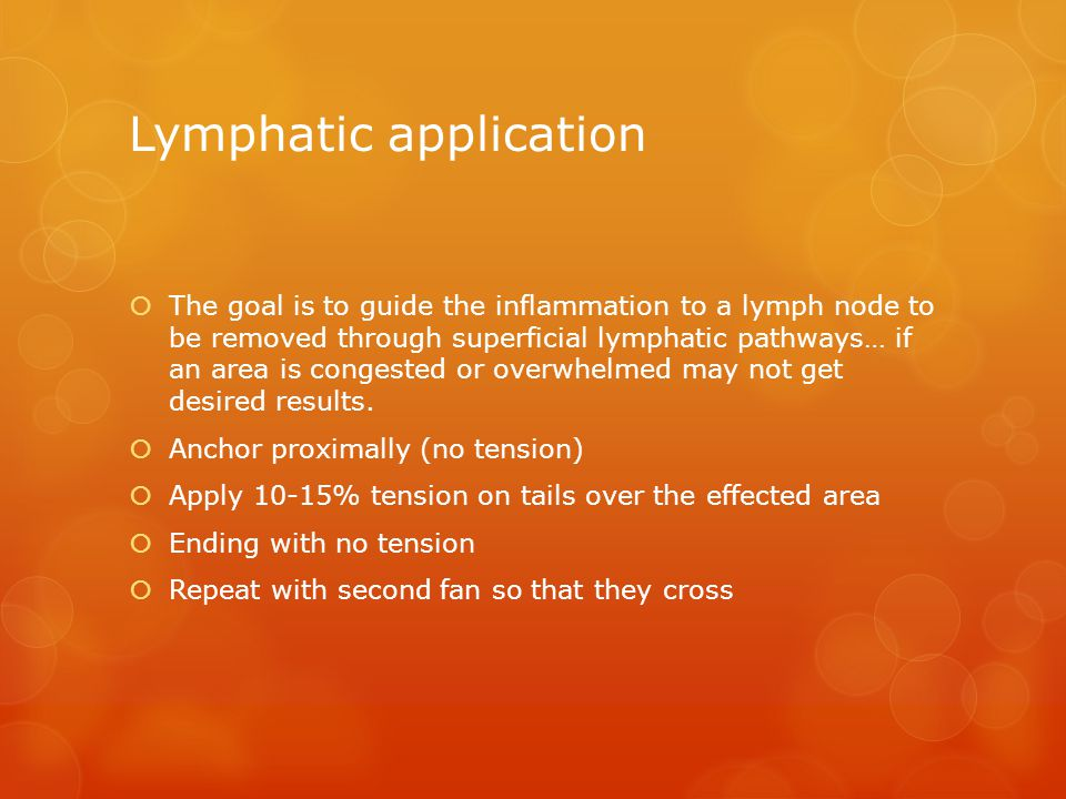Lymphatic application  The goal is to guide the inflammation to a lymph node to be removed through superficial lymphatic pathways… if an area is congested or overwhelmed may not get desired results.