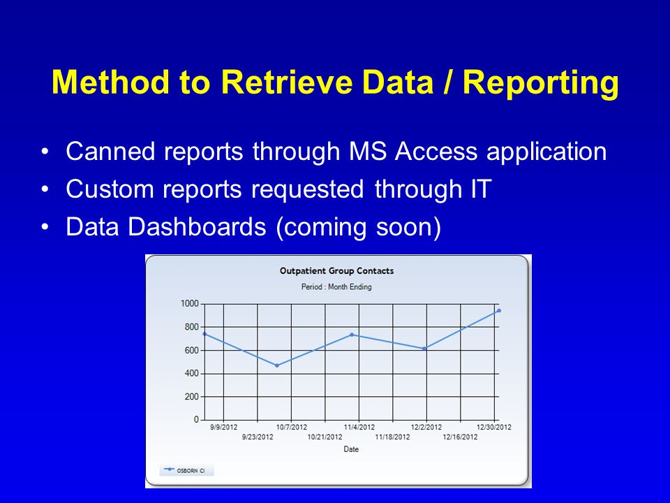 Method to Retrieve Data / Reporting Canned reports through MS Access application Custom reports requested through IT Data Dashboards (coming soon)