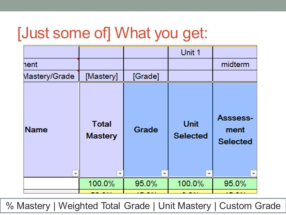 [Just some of] What you get: % Mastery | Weighted Total Grade | Unit Mastery | Custom Grade