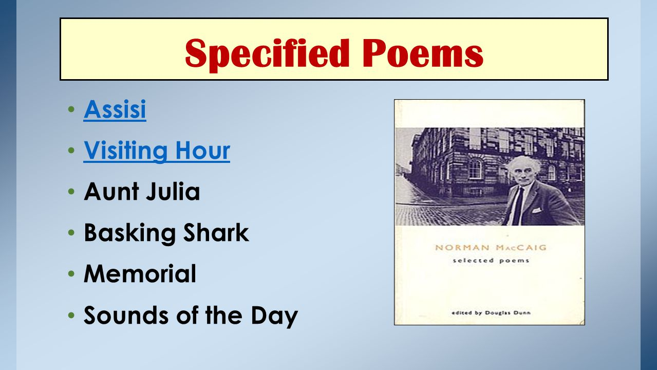 Assisi Visiting Hour Aunt Julia Basking Shark Memorial Sounds of the Day Specified Poems