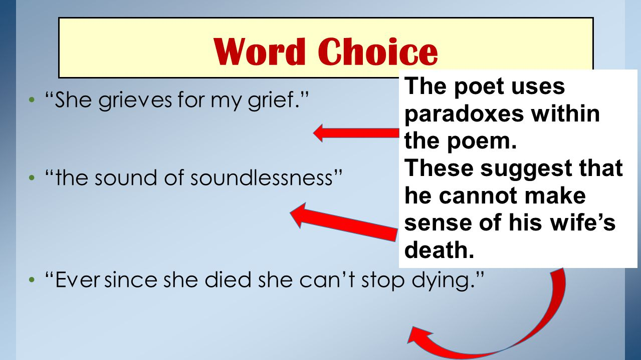 Word Choice She grieves for my grief. the sound of soundlessness Ever since she died she can't stop dying. She is sorry that he will be grieving for her.