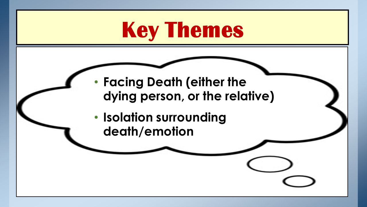 Key Themes Facing Death (either the dying person, or the relative) Isolation surrounding death/emotion