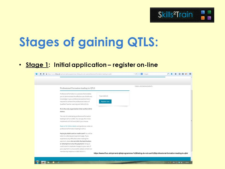 Stages of gaining QTLS: Stage 1: Initial application – register on-line