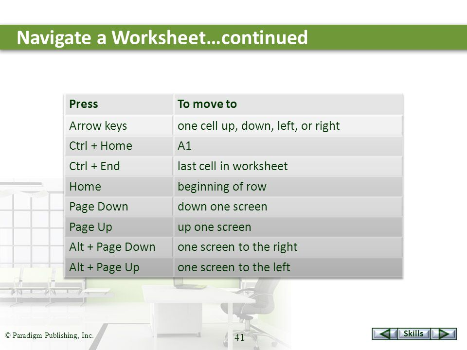 Skills © Paradigm Publishing, Inc. 41 Navigate a Worksheet…continued