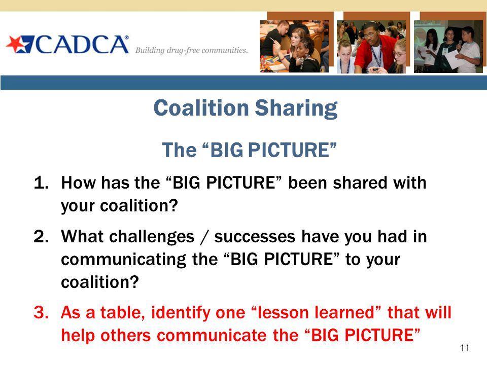 Coalition Sharing The BIG PICTURE 1.How has the BIG PICTURE been shared with your coalition.