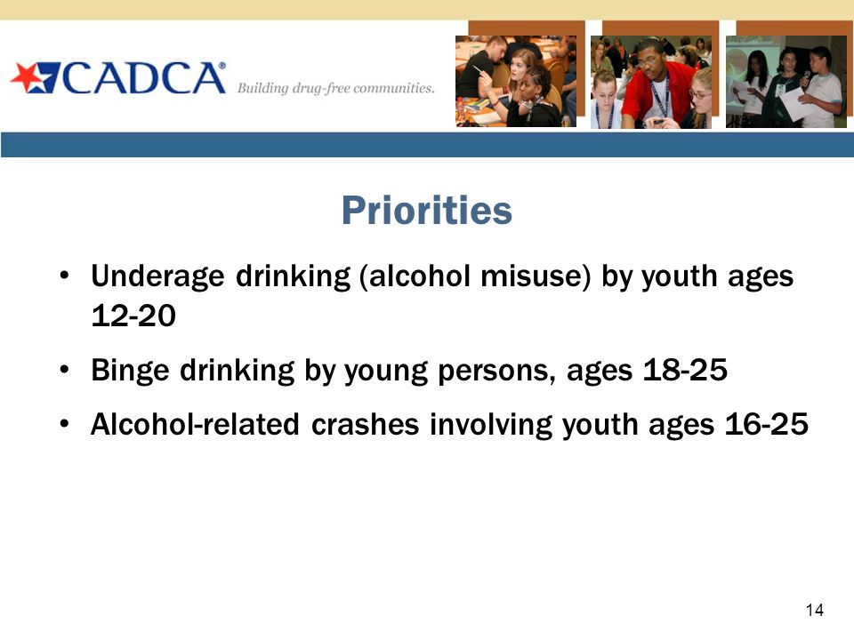 Underage drinking (alcohol misuse) by youth ages 12-20 Binge drinking by young persons, ages 18-25 Alcohol-related crashes involving youth ages 16-25 Priorities 14