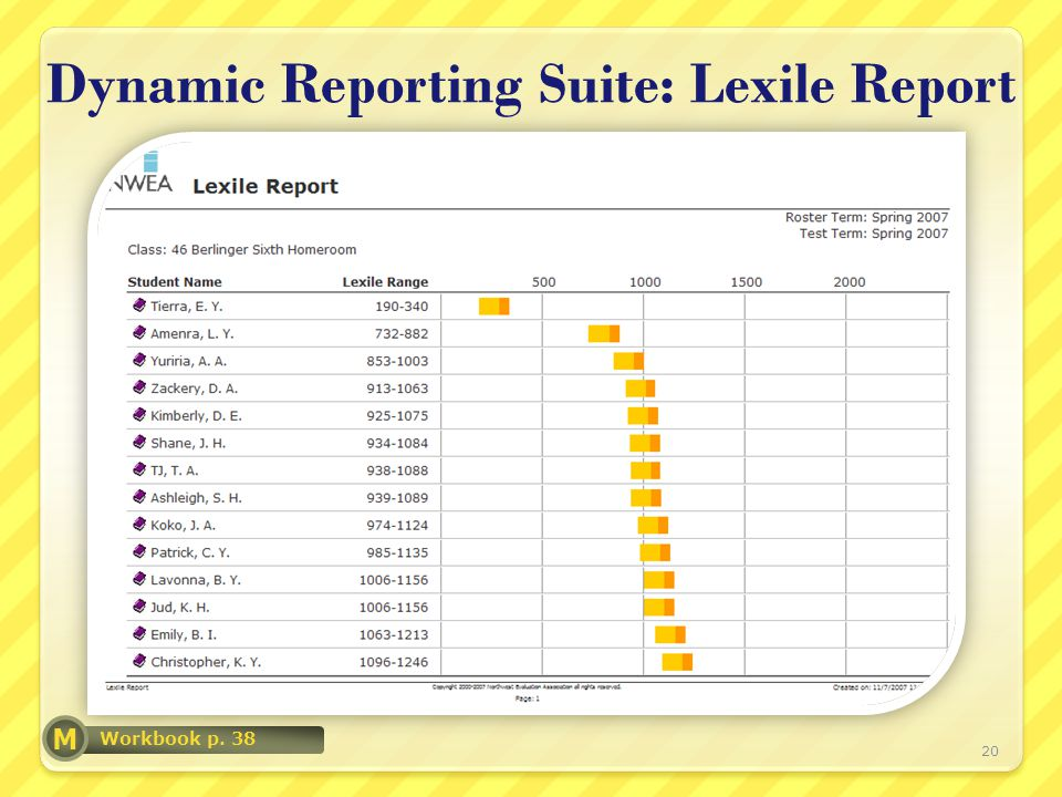 Dynamic Reporting Suite: Lexile Report 20 Workbook p. 38 M