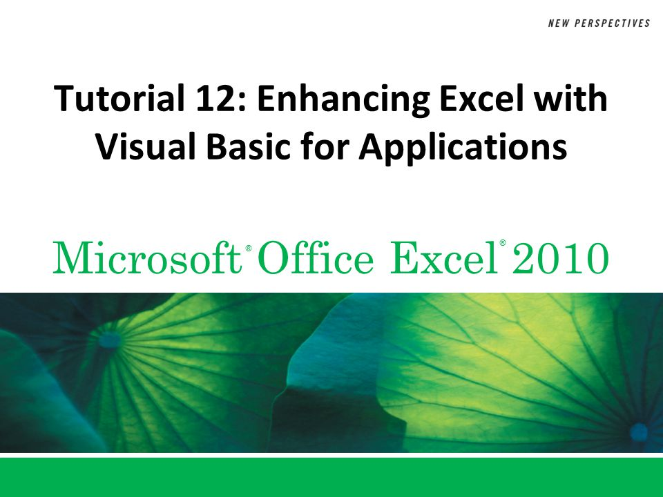 XP New Perspectives on Microsoft Excel 2010222 Objectives Create a macro using the macro recorder Work with the Project Explorer and Properties window of the VBA Editor Edit a sub procedure Run a sub procedure Work with VBA objects, properties, and methods 2