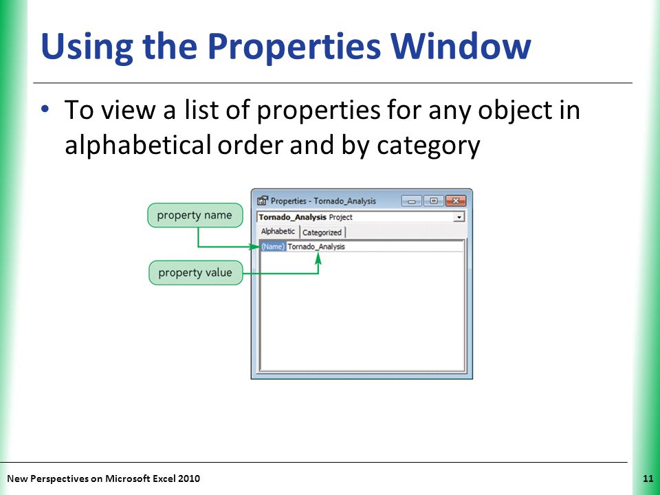 XP New Perspectives on Microsoft Excel 201011 Using the Properties Window To view a list of properties for any object in alphabetical order and by cat