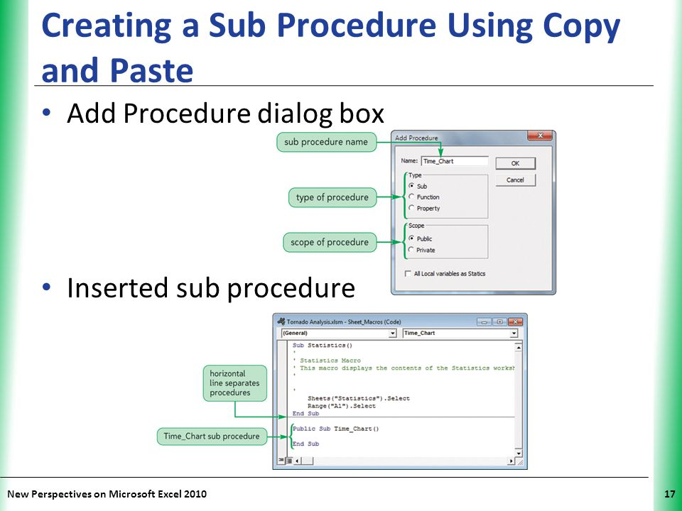 XP New Perspectives on Microsoft Excel 201017 Creating a Sub Procedure Using Copy and Paste Add Procedure dialog box Inserted sub procedure
