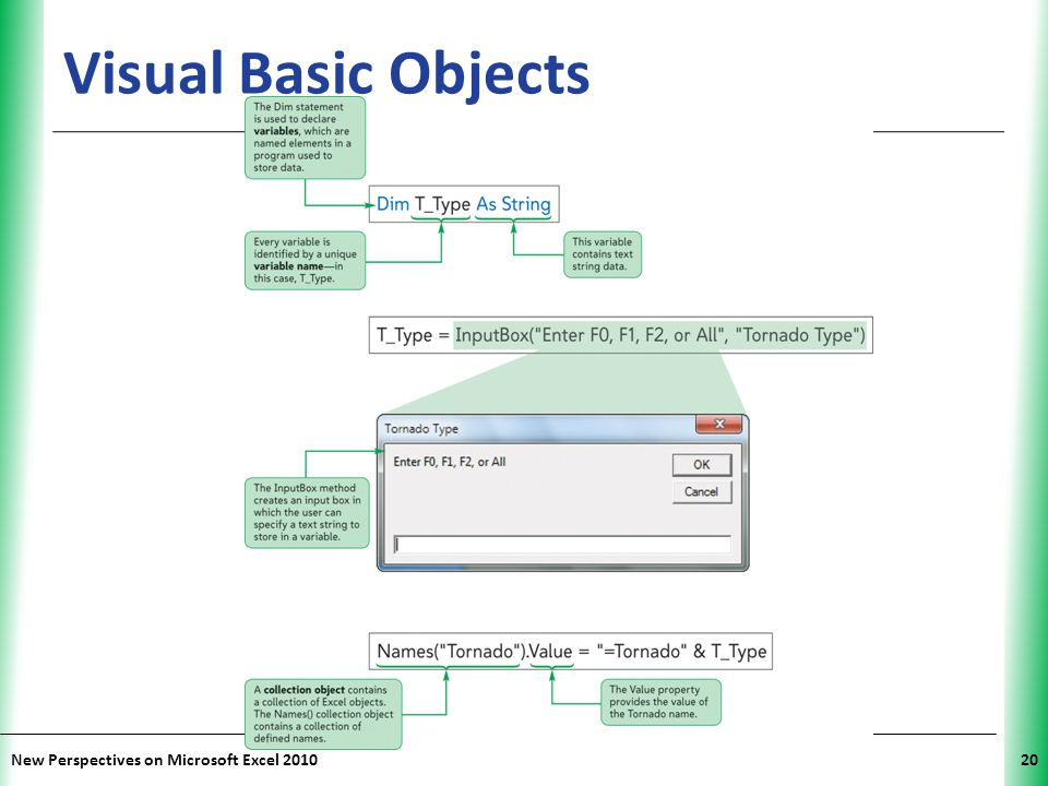 XP New Perspectives on Microsoft Excel 201020 Visual Basic Objects