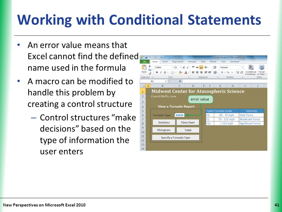 XP New Perspectives on Microsoft Excel 201041 Working with Conditional Statements An error value means that Excel cannot find the defined name used in