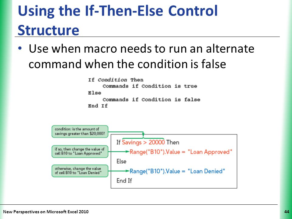 XP New Perspectives on Microsoft Excel 201044 Using the If-Then-Else Control Structure Use when macro needs to run an alternate command when the condi