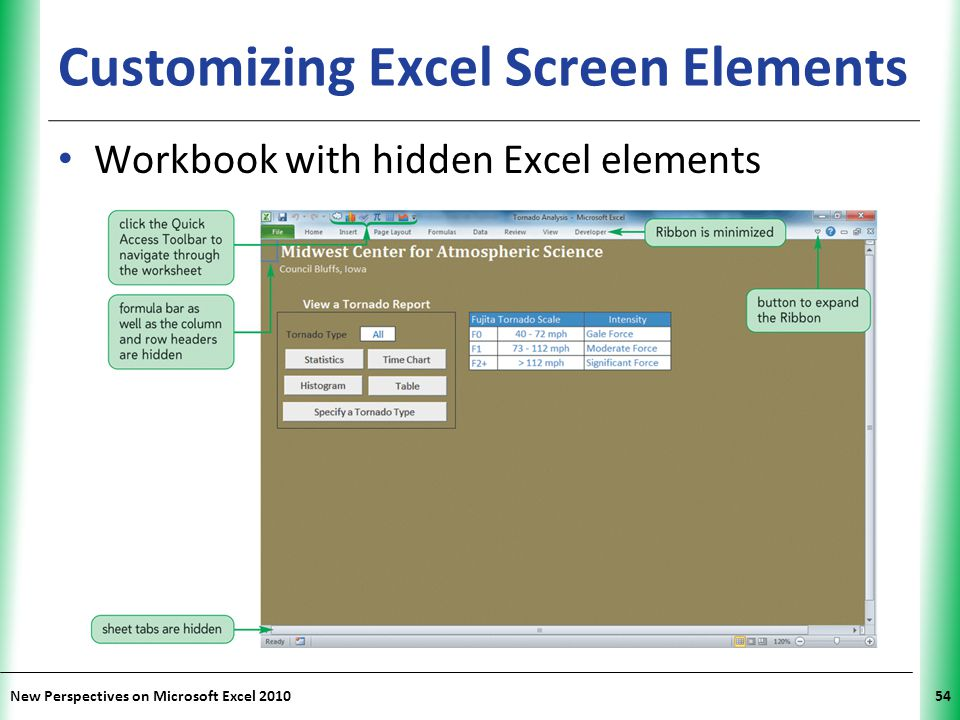 XP New Perspectives on Microsoft Excel 201054 Customizing Excel Screen Elements Workbook with hidden Excel elements