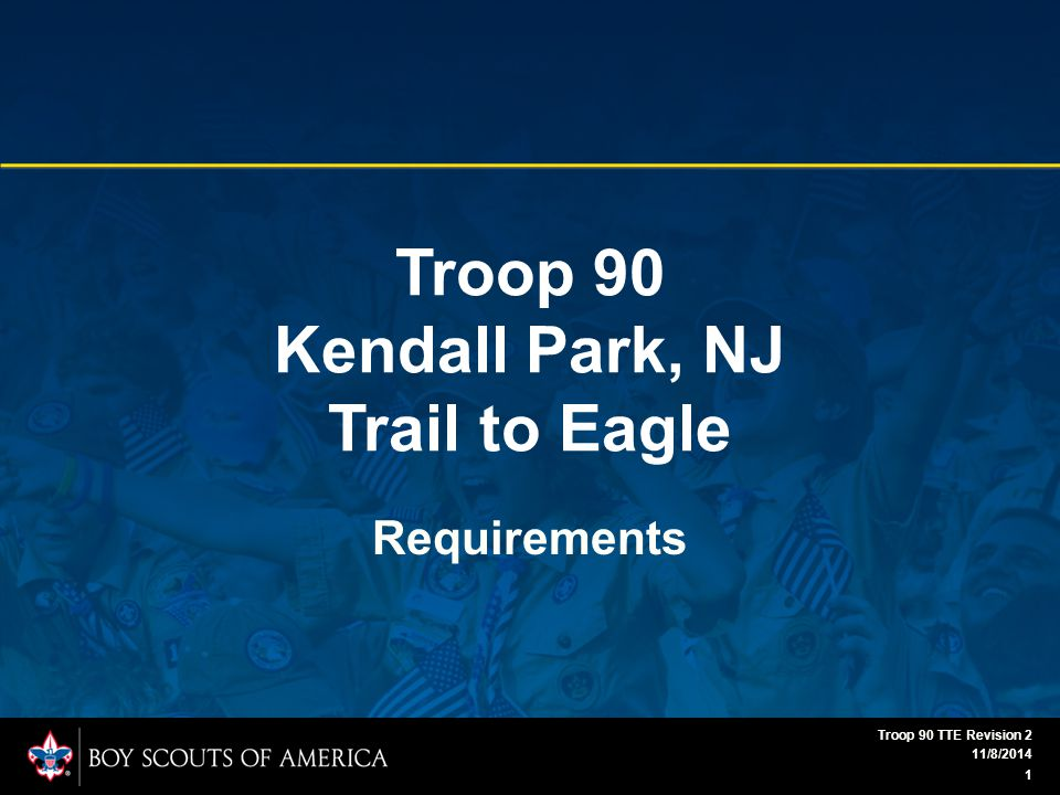 Troop 90 Kendall Park, NJ Trail to Eagle Requirements 11/8/2014 1 Troop 90 TTE Revision 2