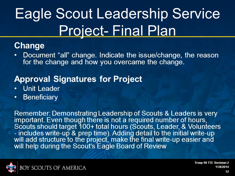 Eagle Scout Leadership Service Project- Final Plan Change Document all change.