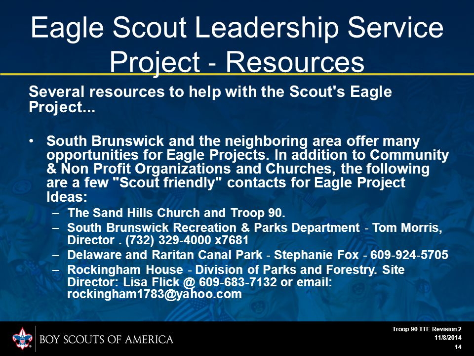 Eagle Scout Leadership Service Project ‐ Resources Several resources to help with the Scout s Eagle Project...