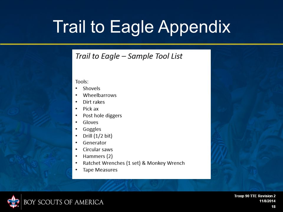 Trail to Eagle Appendix 11/8/2014 Troop 90 TTE Revision 2 18
