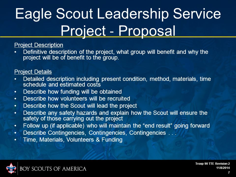 Eagle Scout Leadership Service Project ‐ Proposal Project Description Definitive description of the project, what group will benefit and why the project will be of benefit to the group.