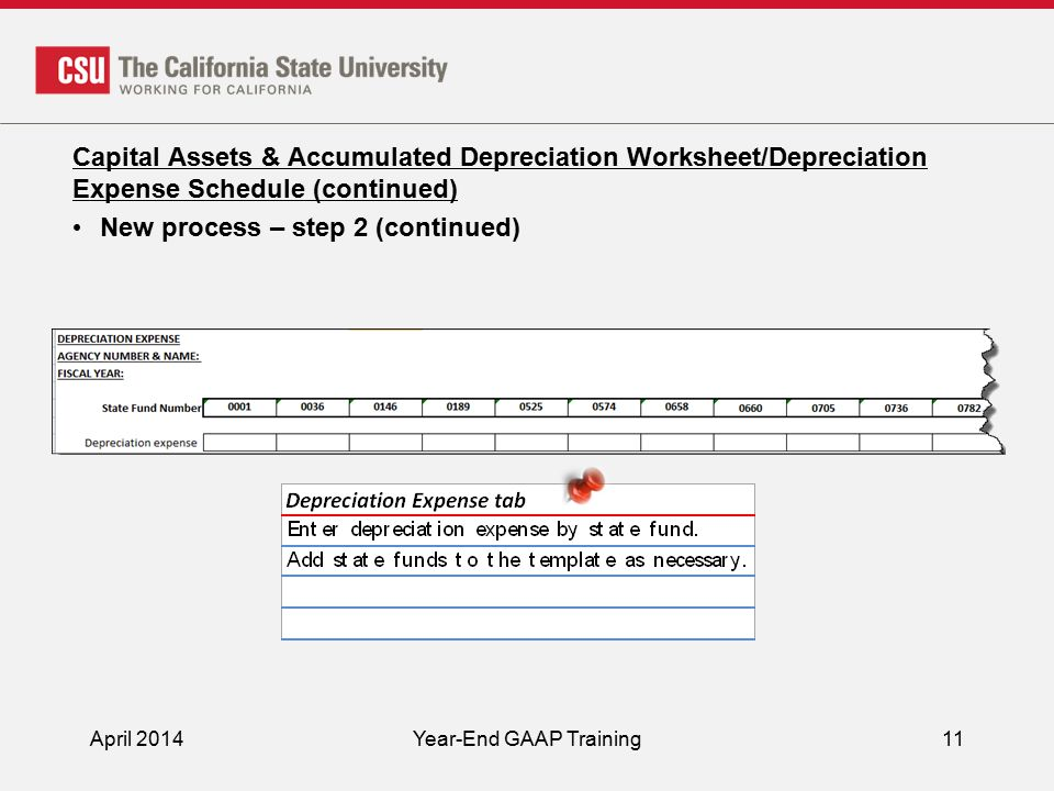 April 2014Year-End GAAP Training11 Capital Assets & Accumulated Depreciation Worksheet/Depreciation Expense Schedule (continued) New process – step 2 (continued)
