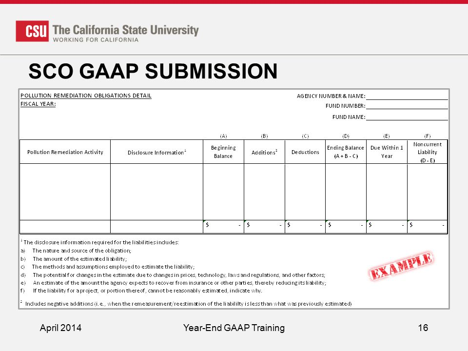 SCO GAAP SUBMISSION April 2014Year-End GAAP Training16