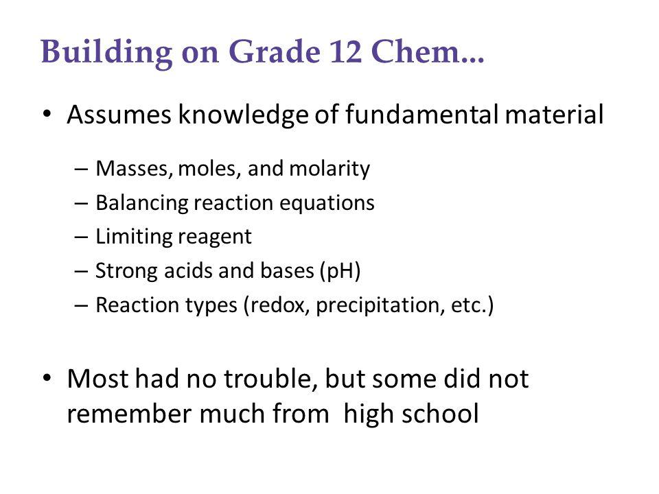 Building on Grade 12 Chem...