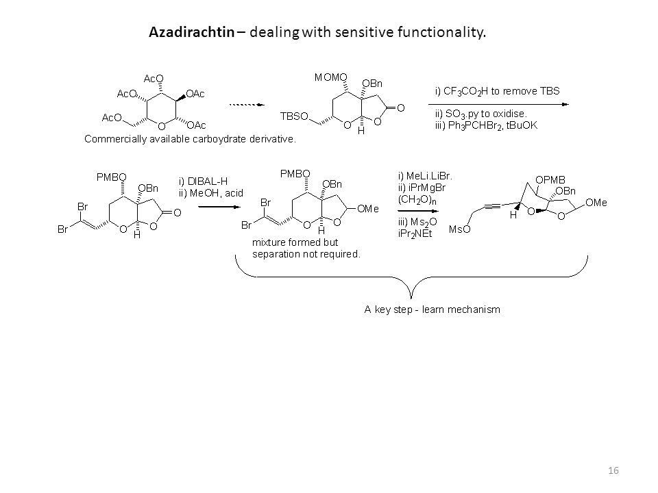 16 Azadirachtin – dealing with sensitive functionality.