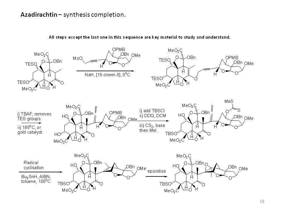 18 Azadirachtin – synthesis completion.
