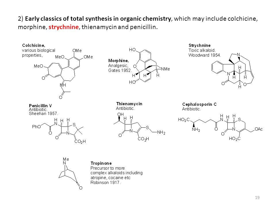 19 2) Early classics of total synthesis in organic chemistry, which may include colchicine, morphine, strychnine, thienamycin and penicillin.