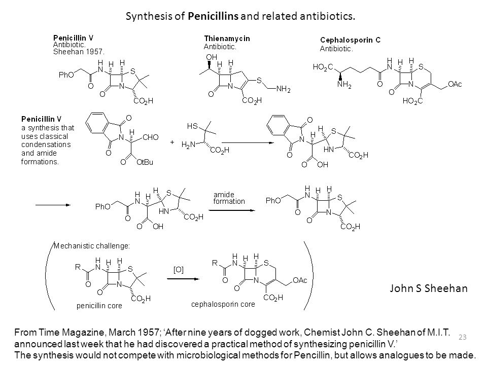 23 Synthesis of Penicillins and related antibiotics. John S Sheehan From Time Magazine, March 1957; 'After nine years of dogged work, Chemist John C.