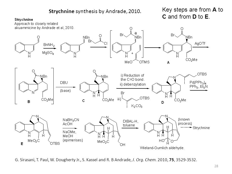28 G. Sirasani, T. Paul, W. Dougherty Jr., S. Kassel and R. B Andrade, J. Org. Chem. 2010, 75, 3529-3532. Strychnine synthesis by Andrade, 2010. Key s