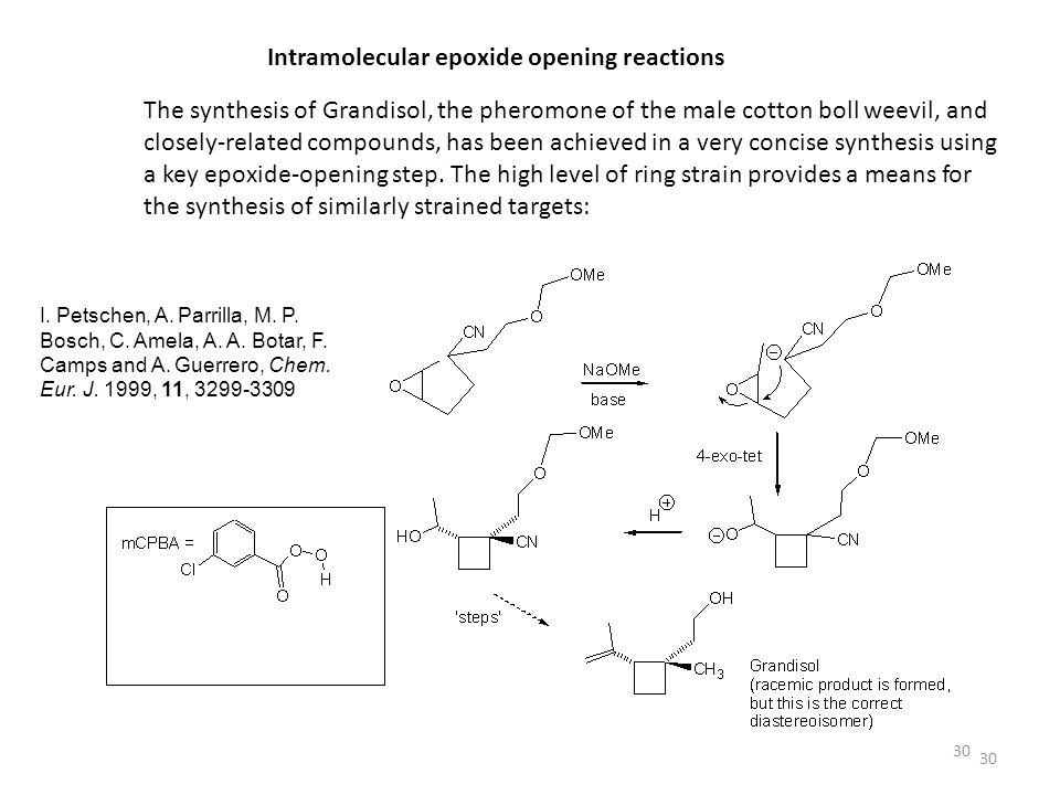 30 Intramolecular epoxide opening reactions The synthesis of Grandisol, the pheromone of the male cotton boll weevil, and closely-related compounds, h