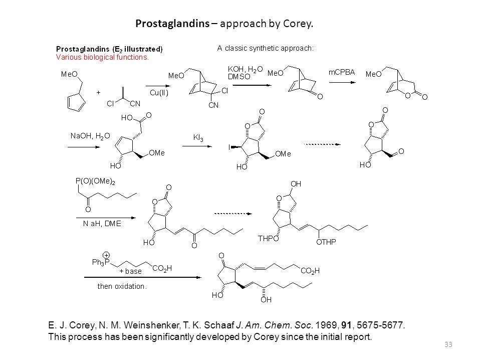 33 Prostaglandins – approach by Corey. E. J. Corey, N. M. Weinshenker, T. K. Schaaf J. Am. Chem. Soc. 1969, 91, 5675-5677. This process has been signi