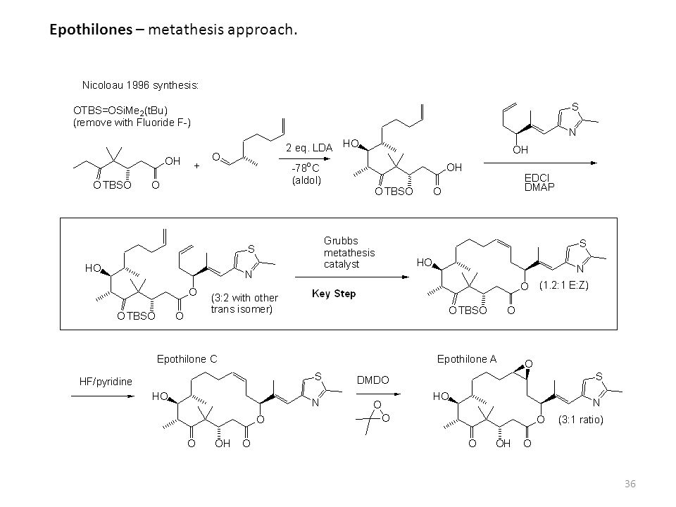 36 Epothilones – metathesis approach.