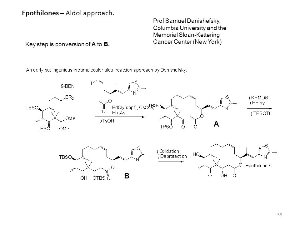 38 Epothilones – Aldol approach. Key step is conversion of A to B. A B Prof Samuel Danishefsky, Columbia University and the Memorial Sloan-Kettering C