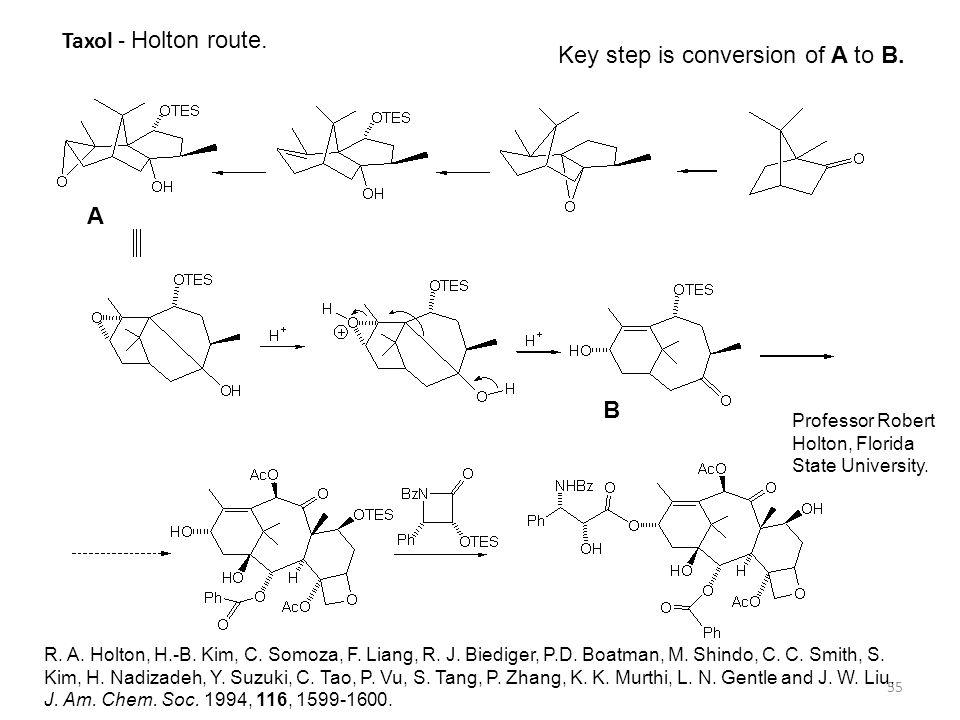 55 Taxol - Holton route. R. A. Holton, H.-B. Kim, C. Somoza, F. Liang, R. J. Biediger, P.D. Boatman, M. Shindo, C. C. Smith, S. Kim, H. Nadizadeh, Y.
