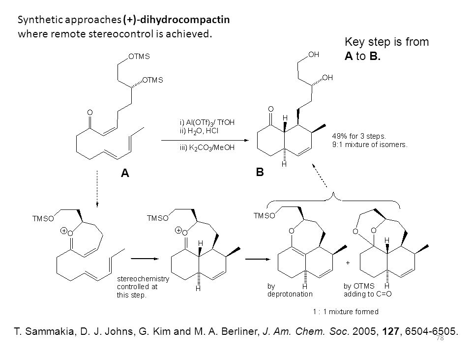 78 Synthetic approaches (+)-dihydrocompactin where remote stereocontrol is achieved. T. Sammakia, D. J. Johns, G. Kim and M. A. Berliner, J. Am. Chem.