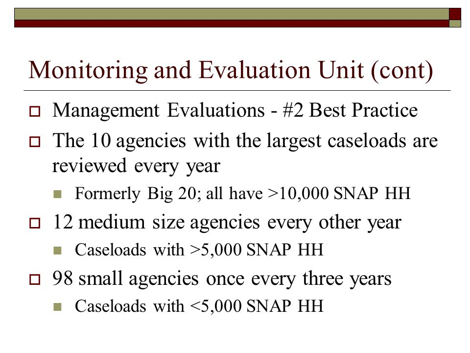 Monitoring and Evaluation Unit (cont)  Management Evaluations - #2 Best Practice  The 10 agencies with the largest caseloads are reviewed every year Formerly Big 20; all have >10,000 SNAP HH  12 medium size agencies every other year Caseloads with >5,000 SNAP HH  98 small agencies once every three years Caseloads with <5,000 SNAP HH