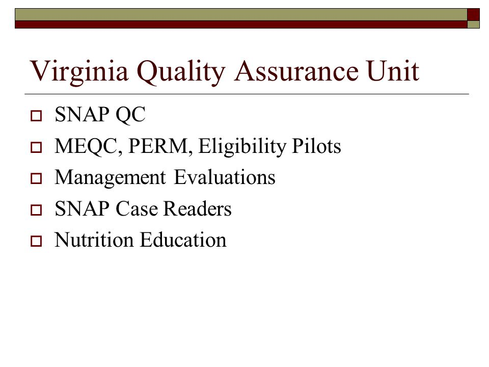 System Development  Virginia is an upload state for SNAP-QCS - #3 Best Practice  QA Reviewers requested continued use of Q5i Edits, custom reports, tools, and strengthens internal controls QA Supervisors ensure that all data is comprehensive and entered correctly – forced review  Performance Indicator Reports published monthly –assists with corrective action