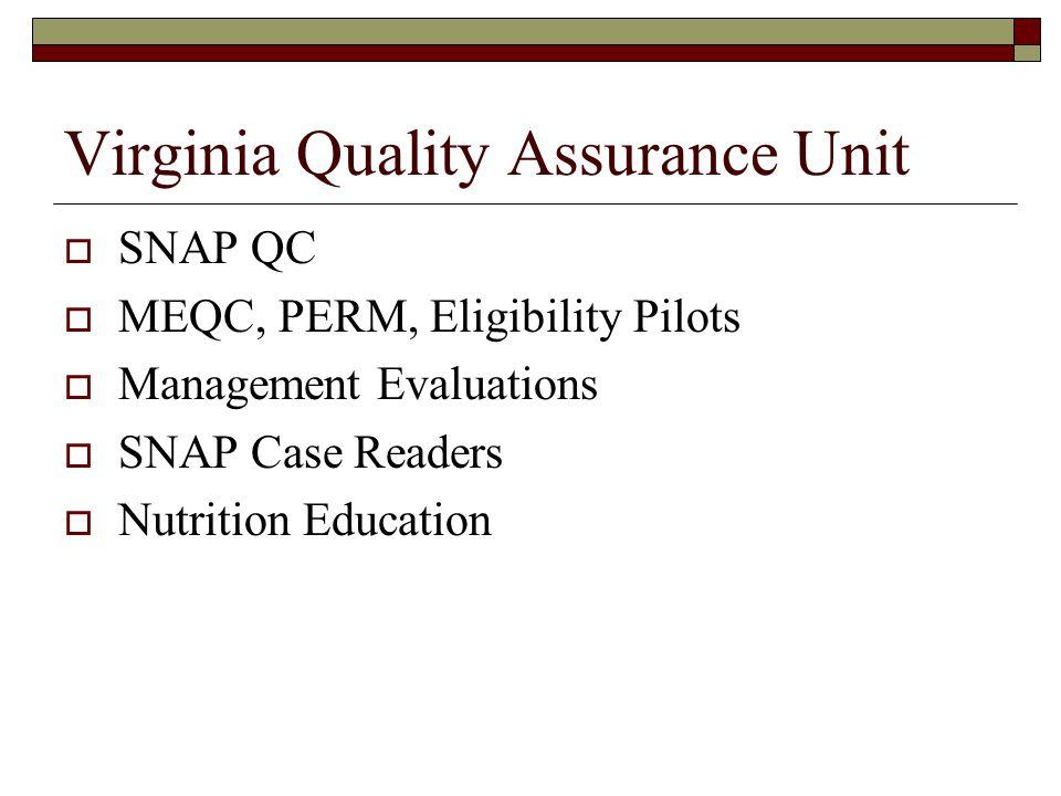 Virginia Quality Assurance Unit  SNAP QC  MEQC, PERM, Eligibility Pilots  Management Evaluations  SNAP Case Readers  Nutrition Education