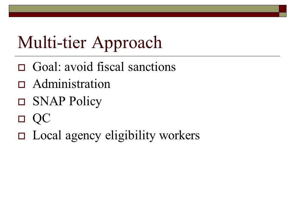 Multi-tier Approach  Goal: avoid fiscal sanctions  Administration  SNAP Policy  QC  Local agency eligibility workers