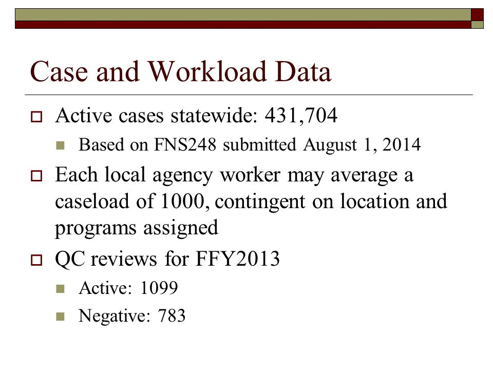 Case and Workload Data  Active cases statewide: 431,704 Based on FNS248 submitted August 1, 2014  Each local agency worker may average a caseload of 1000, contingent on location and programs assigned  QC reviews for FFY2013 Active: 1099 Negative: 783
